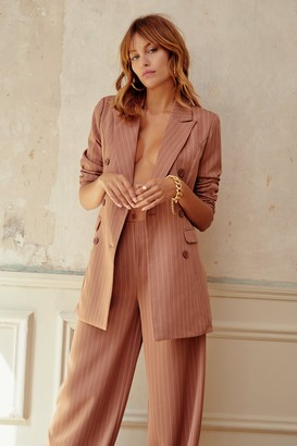 Nasty Gal Womens Unfinished Business Pinstripe Double Breasted Blazer - Beige - 6, Beige
