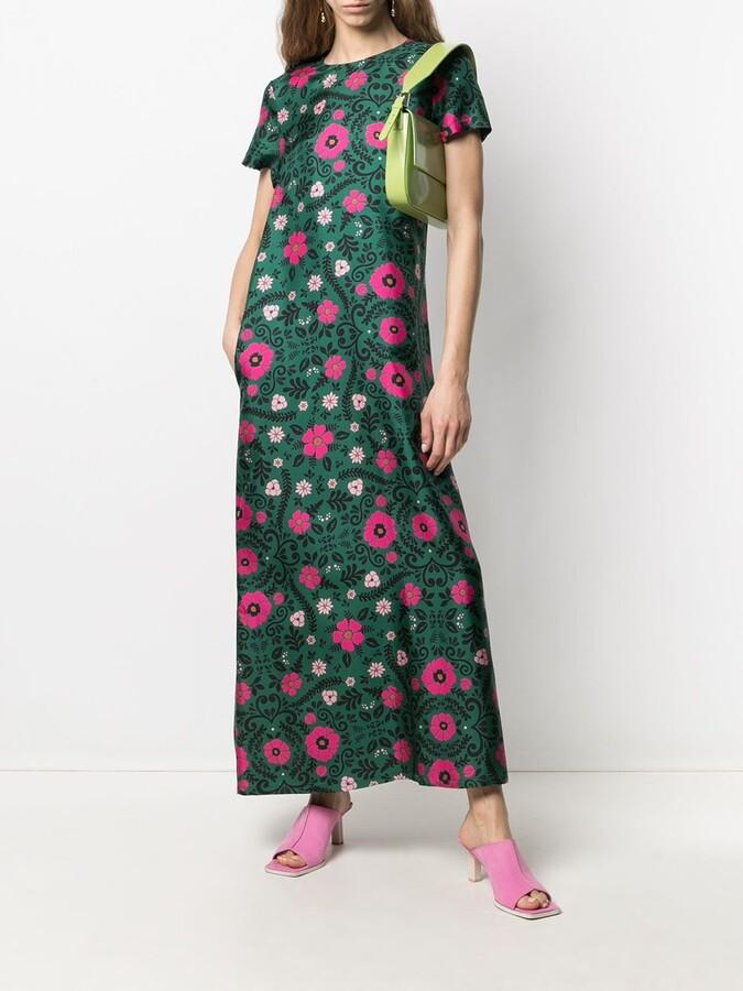 Thumbnail for your product : La DoubleJ Floral Midi Silk Dress