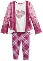 Nannette Little Girls' 3-Pc. Top, Leggings and Kimono Set