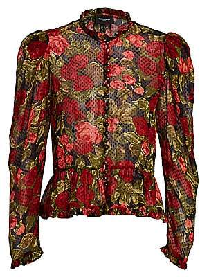 The Kooples Women's Floral Puff-Sleeve Blouse