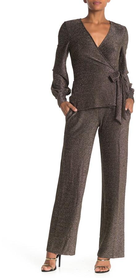 Donna Morgan Long Sleeve Stretch Metallic Knit Jumpsuit