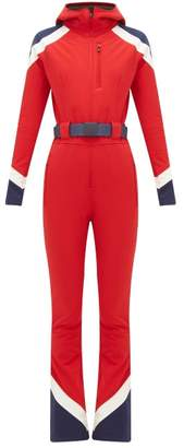 Perfect Moment Allos Chevron-panel Technical All-in-one Ski Suit - Womens - Red
