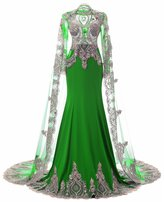 Annie's Bridal Women's Long Watteau Train Evening Gown Formal Party Gown