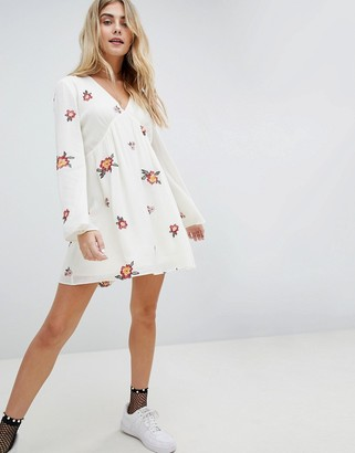 Honey Punch Swing Dress With All Over Embroidery