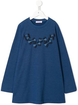 Familiar bow detail flared T-shirt