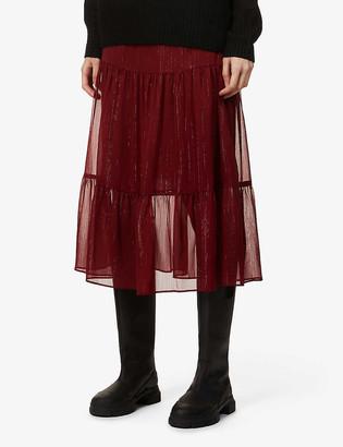 Maje Jubana metallic-crepe tiered midi skirt