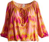 Glam Hot Pink & Yellow Watercolor Cutout-Sleeve Blouson Top
