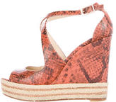 Brian Atwood Embossed Wedge Sandals