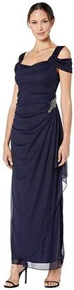 Alex Evenings Long Cold Shoulder Dress with Cowl Neckline (Navy) Women's Dress