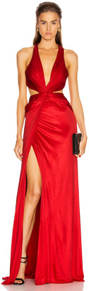 Dundas Cutout Slit Long Dress in Red | FWRD