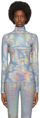 MSGM Silver Holographic Sequin Turtleneck