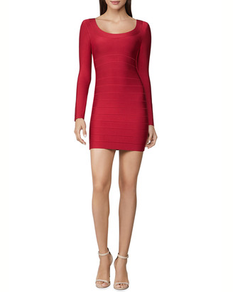 Herve Leger Icon Scoop-Neck Body-Con Mini Dress