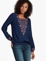 Lucky Brand Embroidered Smocked Bottom