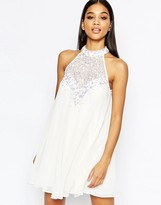 Lipsy Babydoll High Neck Dress With Embellished Neck