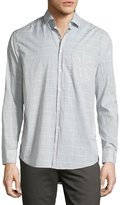 Billy Reid John Windowpane Oxford Shirt, Gray/White