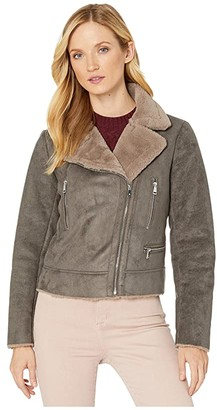 Lauren Ralph Lauren Faux Shearling Moto (Grey) Women's Clothing