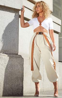 PrettyLittleThing Petite Stone Contrast Belt Detail Cargo Trousers