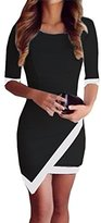 FOREVER YUNG Women's Sexy Short Sleeve O-Neck Dual Color Tone Bodycon Dress Black L