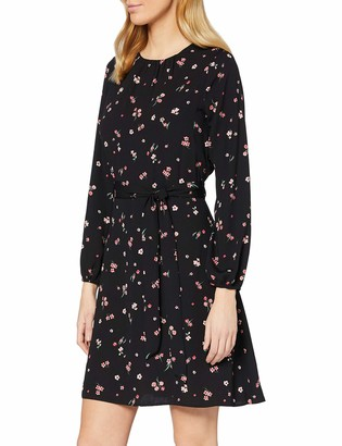Dorothy Perkins Women's Pink Floral Long Sleeve Fit and Flare Dress Casual 14
