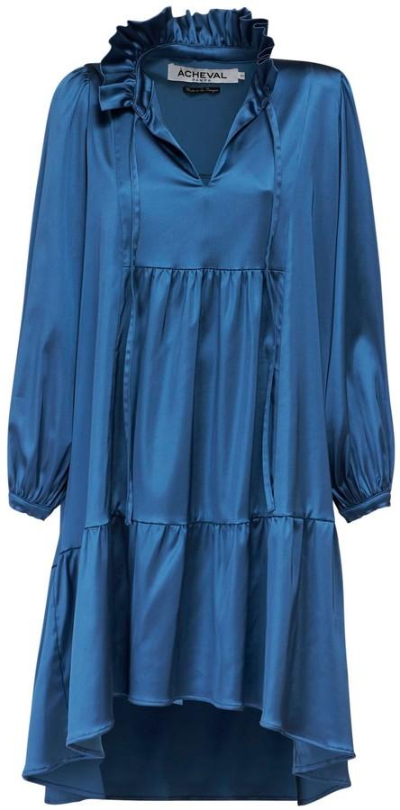 ÀCHEVAL PAMPA Campo Ruffled Satin Midi Dress