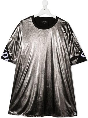 DKNY TEEN metallic logo band dress
