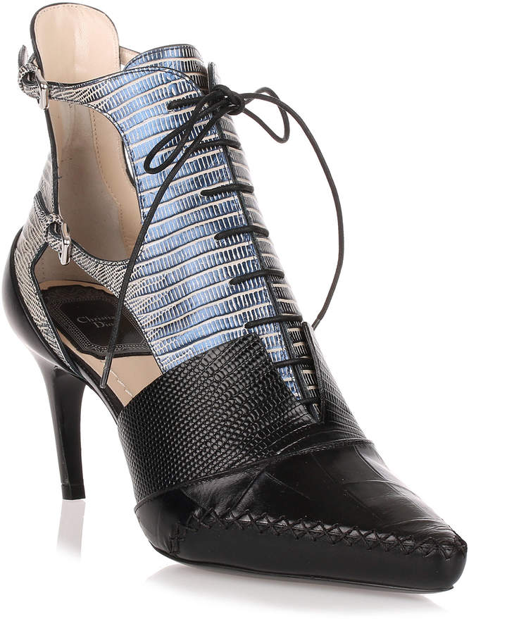 Christian Dior Nomade embossed leather lace-up bootie