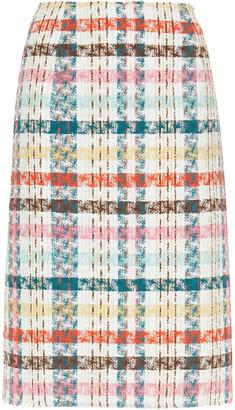 Oscar de la Renta Checked Cotton-blend Tweed Pencil Skirt