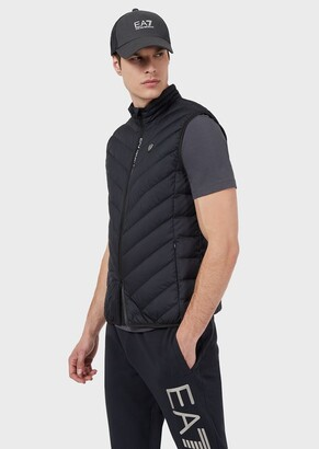 Ea7 Sleeveless Puffer Jacket With Full-Length Zip Closure