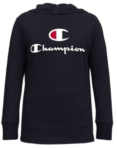 "Champion ""C"" Script Big Girls Hooded Jersey Tee"