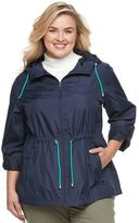 Details Plus Size Hooded Roll-Tab Packable Anorak Jacket