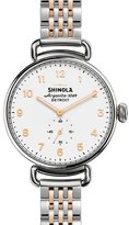 Shinola 38mm Canfield Watch with Bracelet Strap, Silver/Rose Golden