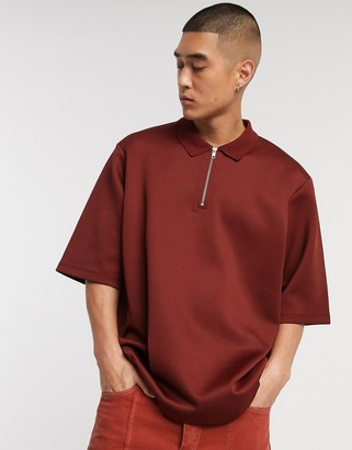 ASOS oversized polo in red pique with zip neck