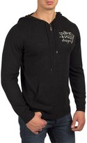 Ed Hardy Mens Bulldog Hoodie Zip Up Sweater -Black