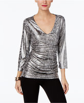 INC International Concepts Petite Printed Ruched Top, Only at Macy's