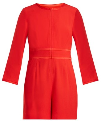 Goat Fillie Long-sleeved Crepe-cady Playsuit - Womens - Red