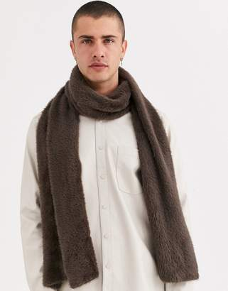 Asos Design DESIGN standard scarf in eyelash yarn in dark brown