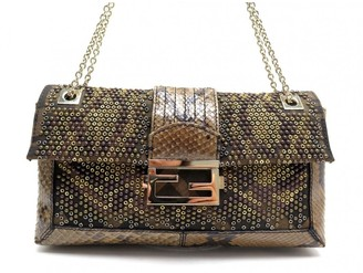 Fendi Baguette Brown Python Handbags
