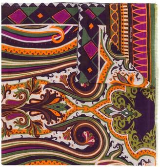 Etro Paisley-Print Linen Scarf