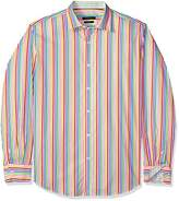 Bugatchi Men's Tailored Fit Stripe Long Sleeve Point Collar Shirt