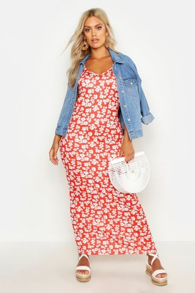 boohoo Plus Ditsy Floral Printed Strappy Maxi Dress