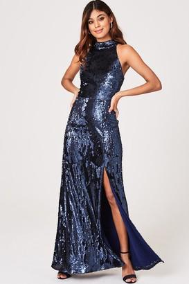 Little Mistress Nicky Navy Sequin Maxi Dress