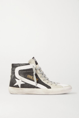 Golden Goose Slide Glittered Distressed Suede High-top Sneakers - Black
