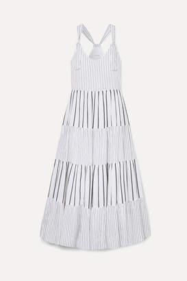 The Great The Glen Picot-trimmed Striped Cotton-poplin Maxi Dress - Blue