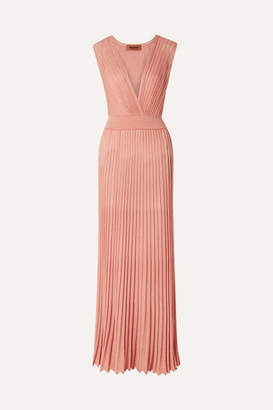 Missoni Mare Pleated Lurex Maxi Dress - Antique rose