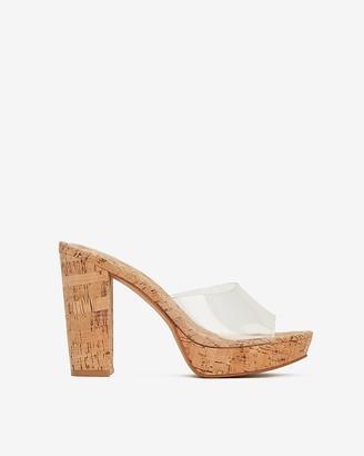 Express Vinyl Strap Cork Platform Sandals