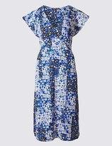 Marks and Spencer Poppy Floral Print Short Sleeve Swing Dress