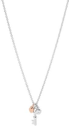 Fossil Vintage Key Sterling Silver Pendant Necklace jewelry JFS00467998