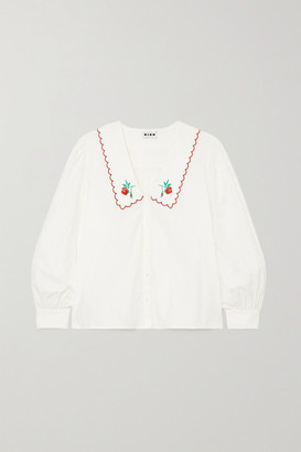 Rixo Lila Embroidered Cotton-poplin Blouse - White