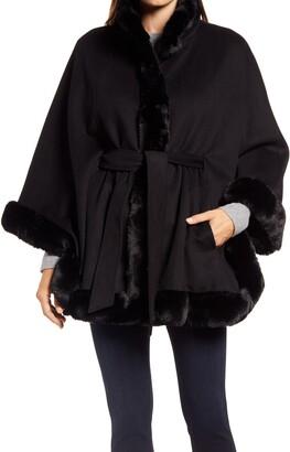 Ellen Tracy Faux Fur Trim Wool Blend Cape