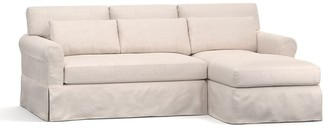 Pottery Barn York Roll Arm Deep Seat Slipcovered Chaise Sofa Sectional